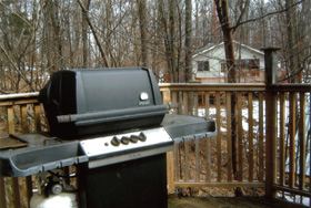 BBQ on deck, picture also shows separate sleeping cabin.